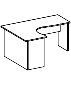 Стол криволинейный А-203.60Л/Пр Размер: 1200*1200*760 мм