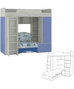 Кровать-чердак Тетрис-1 366. Размер: 2051*1111/2100*1861 мм.