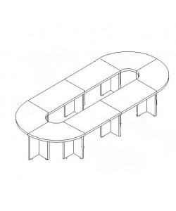Конференц-стол С-ФР-1.4.1*4+1.4.2*4+1.4.5*8 Размер: 4700*1900*750 мм
