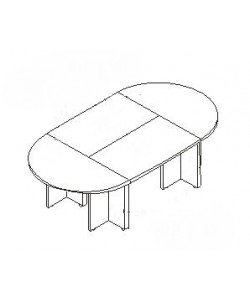Конференц-стол С-ФР-1.4.1+1.4.3*2+1.4.5*4 Размер: 2800*1400*750 мм