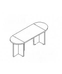 Конференц-стол С-ФР-1.4.1+1.4.4*2+1.4.5*2 Размер: 2100*700*750 мм